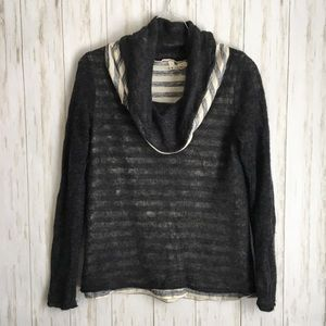 anthropologie Charcoal Striped Angora Cowl Sweater